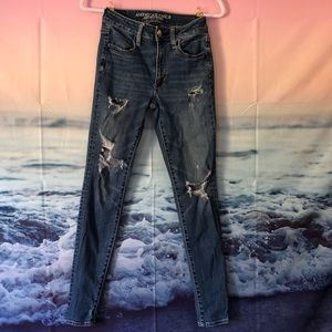 Ripped American Eagle Blue Jeans